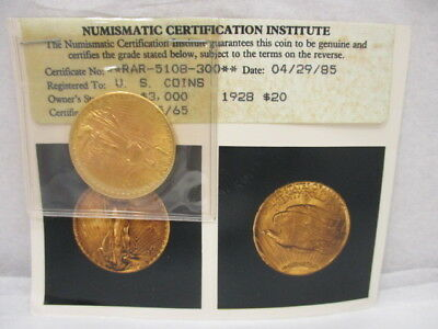 1928 $20 Dollar Gold St Gaudens Coin with COA