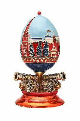 Decorative Faberge Egg Moscow Kremlin with Cannons & Russian Coat of Arms 3.9''