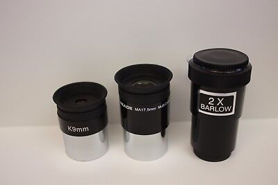 "1.25"" 9mm Kellner - Meade MA 17.5mm - 2x Barlow - Telescope Eyepiece Add-on Kit"