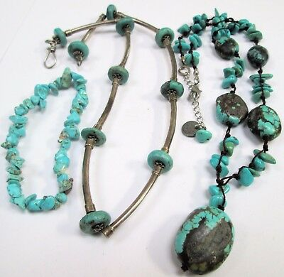 Good vintage silver metal & turquoise bead necklace + bracelet + 1