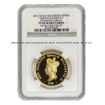 2012 Gold 50 Pound NGC PF69UCAM Ascension Queen Elizabeth II Diamond Jubilee