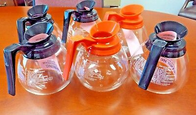 6 Pack - 12-Cup Commercial Coffee Pots/Decanters for BUNN - 4 Black & 2 Orange