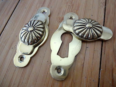 Pair Of Brass Door Escutcheons Key Hole Cover Plates