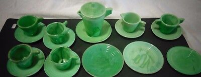 Akro Agate American Maid Tea Set 18 Piece Lot Childs' Toy Green