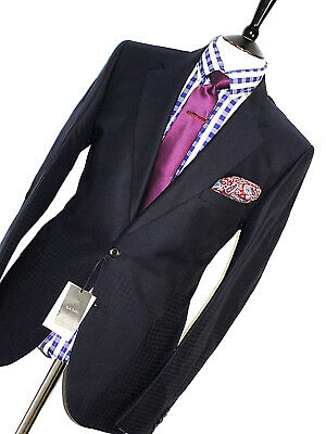 Bnwt Mens Paul Smith  London Mixed Navy Micro Check Tailor-Made Suit 42R W36