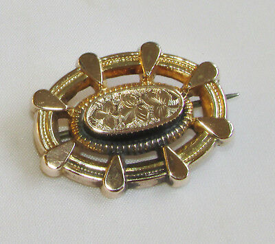 Old antique Victorian 9ct gold brooch