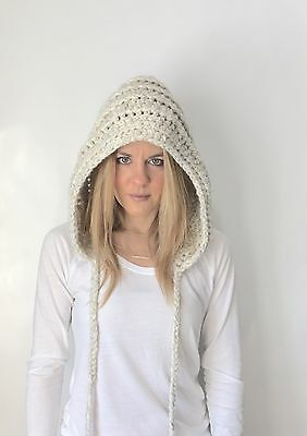 Hand crochet knit hood hat with braided ties | You Pick Color