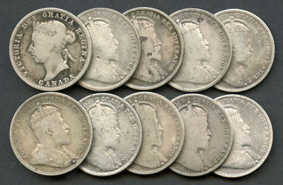 Lot of 10 Mixed Date Canada Silver Quarters