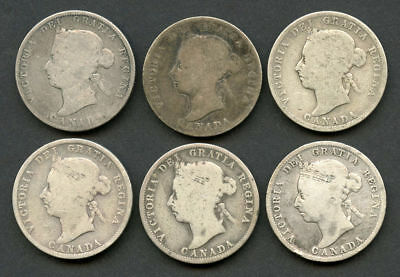 Lot of 6 Mixed Date Canada Silver Quarters