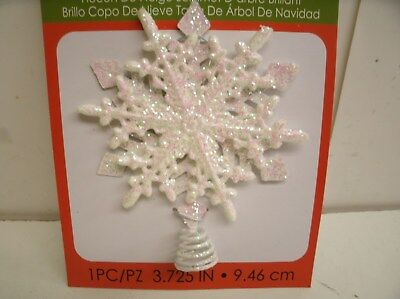"""Iridescent Glitter Snowflake Tree Topper for Small Tree  3.75"""" tall"""