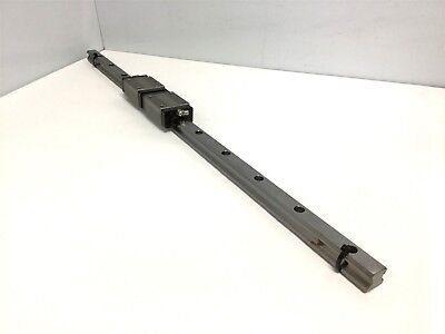 "Lot of 2 THK HSR20 LM Guide Linear Bearing Blocks W/ Rail, Length: 26.5"" Long"