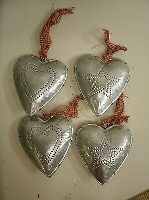 Lot of 4 Country Primitive Puffed Tin Hearts Christmas Ornaments w/ tin punch
