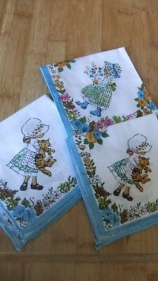 1970s Vintage Childrens Printed Cotton Handkerchiefs Hankies Holly Hobbie Type