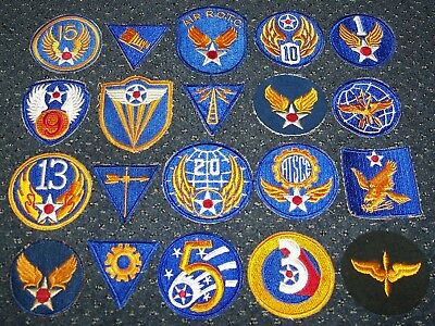 LOT #2: 20 ORIGINAL CUT-EDGE WW2 - 1950's MISC. U.S. AIR FORCE PATCHES