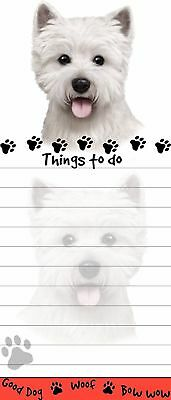 WESTIE DOG DIECUT LIST PAD NOTES NOTEPAD Magnetic Magnet Refrigerator