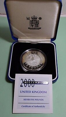 1999-2000 MILLENNIUM £5 Crown FIVE POUNDS UK GB Sterling Silver Proof Coin +COA