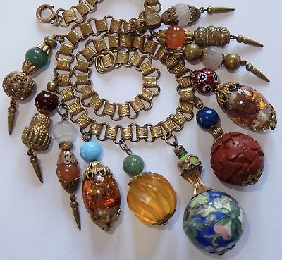 Miriam Haskell Chinese Themed Cloisonne Cinnabar Art Glass Book Chain Necklace