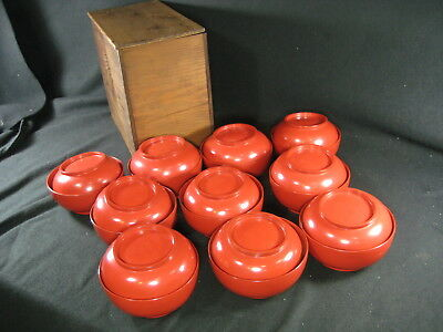 Japanese Meiji Era (C.1880)  Antique  Set Of 10  Red Lacquer Lidded Bowls