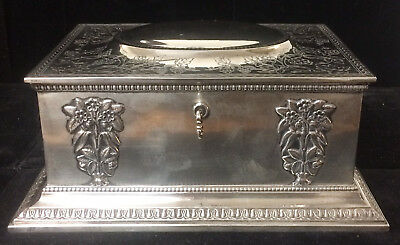 Gorham Art Nouveau Sterling Silver Jewelry Box with Key