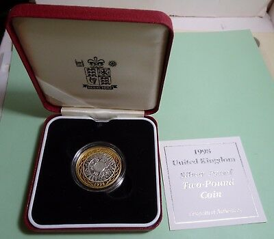 1998 £2 TWO POUNDS UK GB Sterling Silver Proof Coin +COA &BOX LOW MINTAGE 25,000