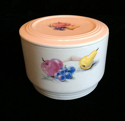 Knowles Utility Ware Refrigerator Jar With Lid Fruits Pattern Red Blue Yellow