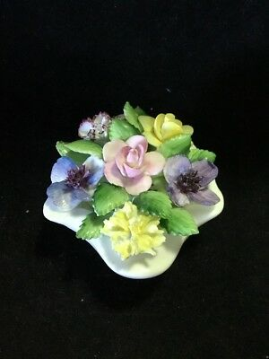 Royal Adderley White Shell With Flowers Bone China Rose Floral Basket Ornament
