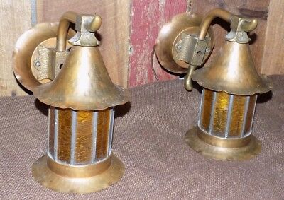 Pair Vintage Arts Crafts Copper Porch Light Sconces Bungalow Cottage Wall Amber