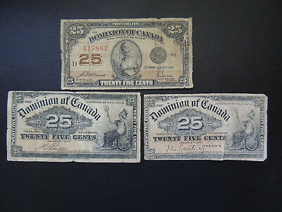 Dominion of Canada, Lot of 3 x 25 cent notes. 1900-1923, P9a/9b & 11b