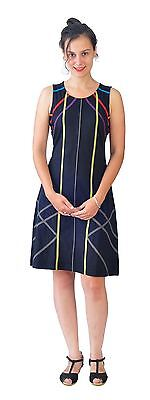 Women's Sleeveless Evening Dress With Multicolored Stripe Pattern