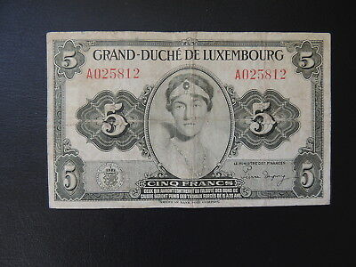 Luxembourg (5812), 1944, 5 Francs, P43 - F+