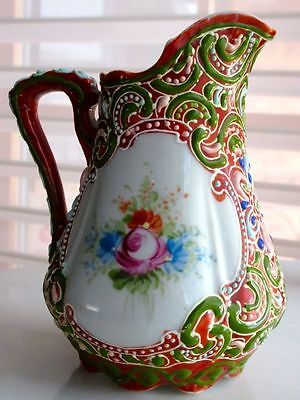 Nippon MORIAGE Rare Antique Japanese Porcelain Hand Enameled Pitcher, Great Cond