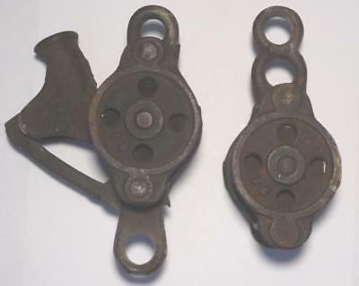 VTG Antique Cast Iron Rope Pulleys Pat 1889 Steampunk Industrial Set of 2