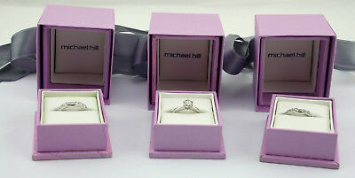 Michael Hill 18ct White Gold Diamond Rings Evermore Wedding Band 1/2 Set + Boxes