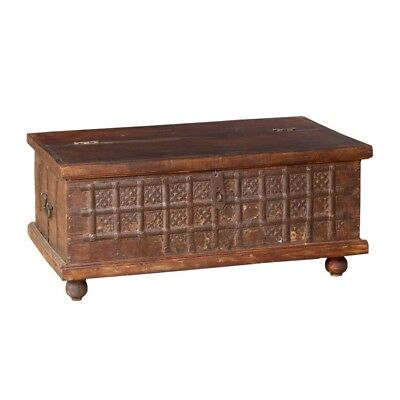 """37"""" L Coffee Table Solid Wood Old Antique Chest Vintage Brown One of a  Kind"""