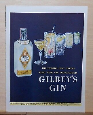 1942 magazine ad for Gilbey's Gin - row of cocktails and gin bottle, striking