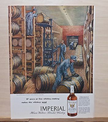 1945 magazine ad for Imperial Whiskey -Whiskey Aging in the Rackhouse by H. Baer