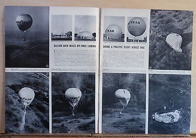 1940 two page magazine photo spread - Goodyear balloon test flight for US Navy