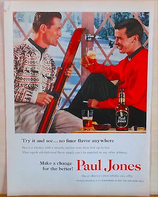 1956 magazine ad for Paul Jones Whiskey - Two skiers drink Paul Jones Whiskey