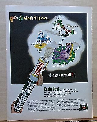 1948 magazine ad for EndoPest bug killer - scary insects & fungus get sprayed