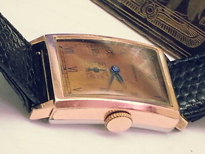 Vintage Illinois Heyworth Clinton Rare (10Kt Pink R.goldp. Bezel) Mens Watch