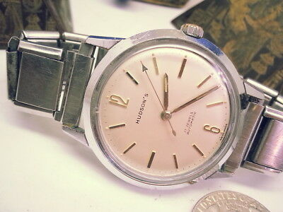 Vintage Hudson Nova 1966 Automatic Special-Rare Arrow Seconds Hand Mens Watch