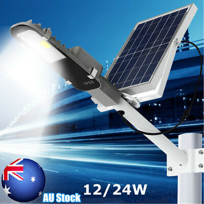 12W 24W Solar COB LED Light Sensor Street Road Lamp Outdoor Garden Waterproof