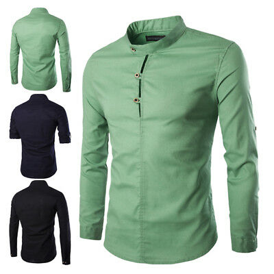 Traditional Chinese Mens Casual Solid Shirt Stand Collar Tops Button Blouse New