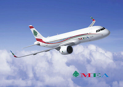 POSTCARD MEA MIDDLE EAST AIRLINES AIRWAYS LEBANON NEW AIRBUS A-320neo AIR TOP !!