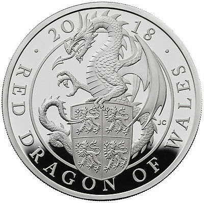 VVK 1Oz Silver Proof Queens Beasts Red Dragon of Wales 2 £ UK 2017 silber Drache