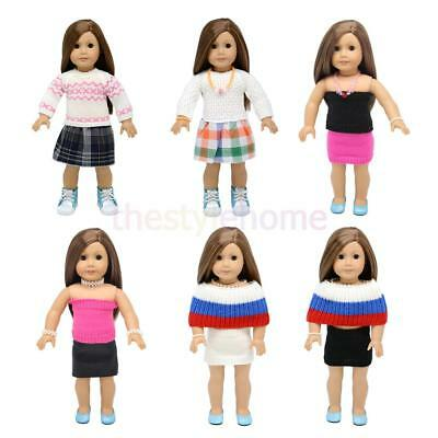 MagiDeal Knitted Sweater Clothes for 18inch American Girl Dolls Skirt Dress Tops