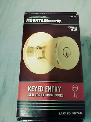 Mountain Security Deadbolt Door Lock Handle Set, Polished Brass With 2 Keys