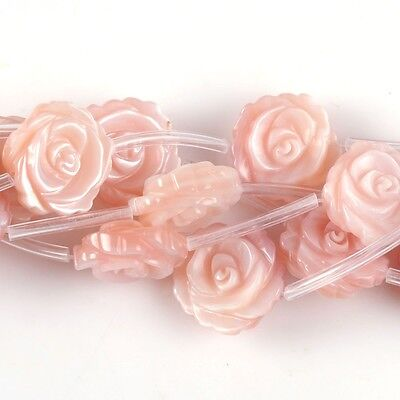 0516 12mm Mother of pearl MOP shell flower loose beads 15pcs (both sides carved)