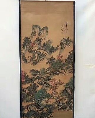 Collectible Old Decorated superb Chinese long Scroll Painting Winter landscape
