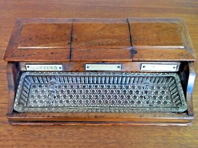 Vintage Antique Victorian  Wooden Pen And Ink Stand Or Box Glass Tray